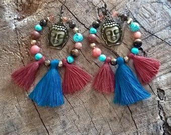 Earrings beads tassel boudha