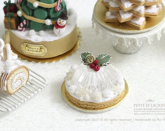 Magical Winter Holly Berry Crystal Jelly Pastry Cake- Xmas- in 1/12th miniature dollhouse Christmas Cake
