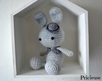 Amigurumi plush rabbit gentleman grey cozy