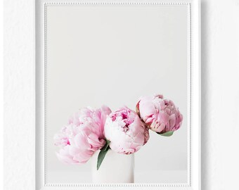 Pastel Peony Print - Flower Print - Printable Wall Art - Peony Poster - Instant Download Printable Art - Minimalist Scandi Modern Decor Rose