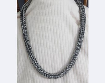 Stainless Steel Round Maille Chain Mail Necklace Over 1/2 Inch Wide