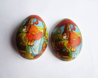 German vintage Easter egg candy container, egg box made of paper mache, German vintage