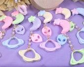 Pastel Intersellar Babe Moon Dangle Hairclip- Kawaii, uchuu kei, decora, star, planet, alien, fairy kei, space, lolita fashion, cute UFO,