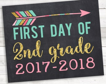 Arrow First Day of 2nd Grade, 2nd Grade 2017-2018, 2nd Grade Photo Prop, Pink Gold, First Day 2nd Grade, 1st Day School, 1st Day 2nd Grade