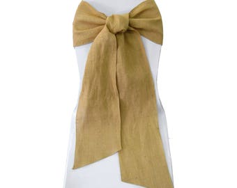 Natural Burlap Sashes Chair Bow ( Pack of 10 ). Made in USA