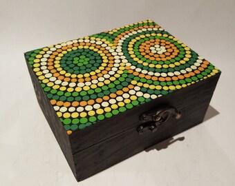 Wooden box handpainted Aboriginal painting inspiration