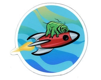 Tardigrade riding a rocket ship magnet