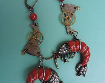 """Pacific Ocean shrimp"" steampunk earrings."