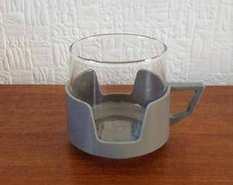 Set of 5 JAJ Camping or Picnic Cups Glass in Plastic Holders - 1970s - Retro Kitchen - Caravan/Camper van/Camping