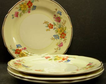 Edwin Knowles China Bread Plates (4), Semi Vitreous Cream Gilded Floral Pattern