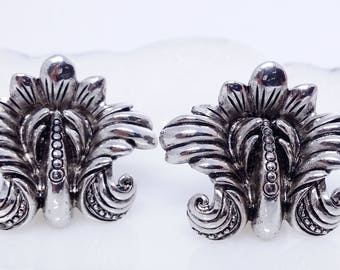 Ginnie Johansen Silver Tone Clip Earrings, Vintage Costume Jewelry