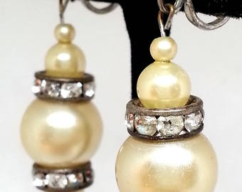 Faux Pearl Rhinestone Earrings, Silver Tone Screw Backs,  Vintage Costume Jewelry