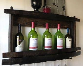 Wine Rack, Wine Glass Holder, Wood Wine Bottle Shelf, Recycled Wine Barrel Parts