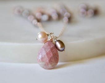 Pearl Wire Wrapped Necklace, Rhodonite Necklace, Rose Gold Necklace, Freshwater Pearl Necklace, Pink Pearl, White Pearl