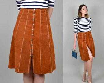 1970's Sienna Suede Skirt snap button Zig Zag stitch 70's Boho Leather Skirt