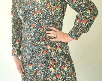 70s Boho Gardner Print Knee Length Pattern Vintage Dress