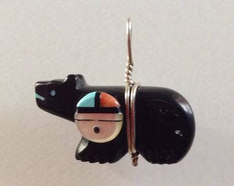 Native American Zuni Jet Turquoise Bear Fetish Pendant with Sun Face and Offering -  Darren Boone