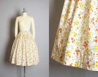 Vintage 1960s Skirt | 1960s Floral Print Cotton White Yellow Orange Pleated Full Skirt (xs)