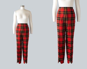 Vintage 1960s Pants   60s Plaid Wool Cigarette Pants Red Tailored Pin Up Capri Pants (medium)
