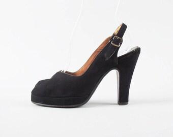 Vintage 1940s Shoes | 40s Black Suede Peep Toe Platform High Heel Slingback Pumps (womens size 6)