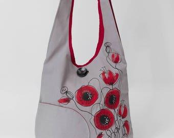 Holiday poppy flowers shoulder bag, gentle grey