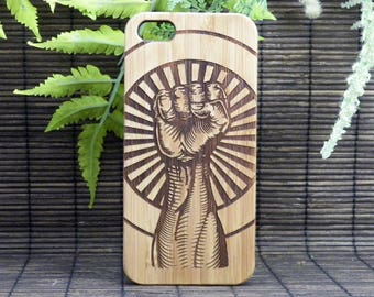 Raised Fist iPhone 8 Plus Case Revolution Hand Unity Salute Strength Defiance Resistance Counterculture Hipster Punk Fight Bamboo Wood Cover