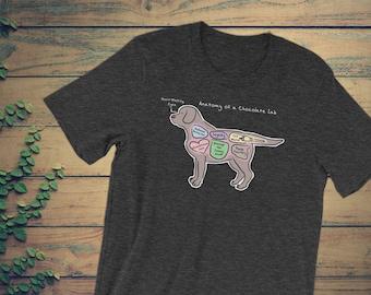 Anatomy of a Chocolate Lab - Funny Labrador Retriever Tee - Short-Sleeve Unisex T-Shirt