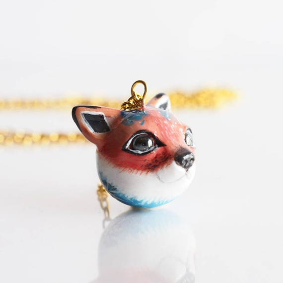 FULL MOON BABY, Fox- Handmade Polymer Clay Sculpture