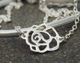 Silver Rosette Necklace. Minimalist Necklace. Layering Necklace