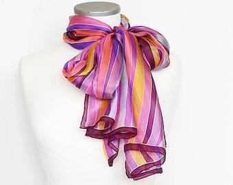 Hand painted silk scarf- Purple silk scarf- silk scarf- multicolored stripes scarf- scarf with stripes- Scarf for women- summer silk scarf