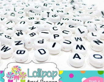SALE LETTER E - 7mm Alphabet Beads Letter Beads 50-ct Little Round Beads White & Black Beads Acrylic Beads Letters For Stretchy Name Bracele