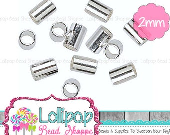 2mm x 2mm Silver Crimp Beads - 2mm Crimp Beads - Crimp Tube Beads - Crimp Beads - Silver Tone Crimp Beads - Silver Plated Lead/Cadmium Free