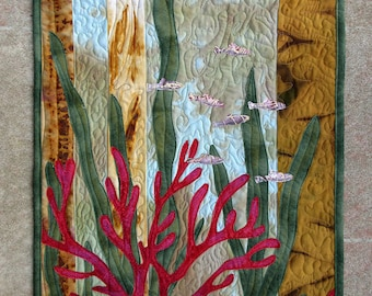 Hand painted fabric art quilt, wallhanging  - Beneath the Sea - fiber art
