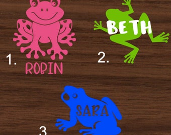 Personalized Frog Decal with Name | Personalized Frog Yeti Decal | Personalized Frog RTIC Decal | Personalized Car Decal | Customized Decal