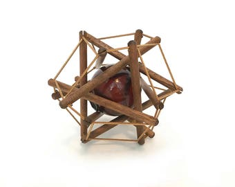 The Baba Buoy Vintage Float Boat Markers Wood Geo Stick Matrix Red Glass Ball Rope Hexagon Home Décor Maritime, Nautical