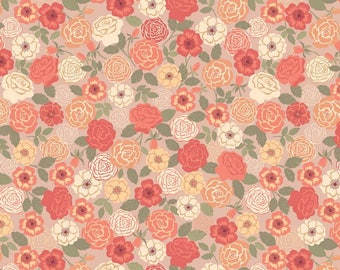 Wild Roses Peach, Lewis and Irene, quilting cotton, fabric by the yard, floral print, flower, wildflowers, bouquet, grandma's garden, Flo