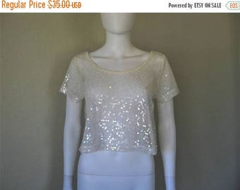 ON SALE sheer mesh sequin top