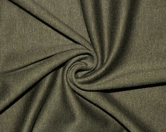 """Olive Ponte Di Roma Double Knit Polyester Spandex Lycra Stretch Medium Weight Apparel Craft Fabric 58""""-60"""" Wide By The Yard"""