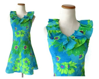 Flower Power Dress Hippie Mini Dress 1970s 70s Psychedelic Babydoll Neon Mod Floral Print Size XXS Blue Green Ruffle Neck