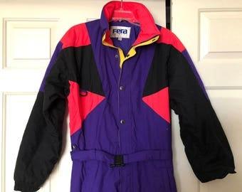 Men's Vintage 80s 90s Hot Pink Purple Black Color Block Snowboard Ski Suit Jumpsuit by Fera Skiwear - Party / Snowsuit - size Medium