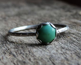 Turquoise & Sterling Silver Stacking Ring | Gypsy Stax Collection | Scalloped Bezel, Oxidized, Brushed or Shiny // Made to Order