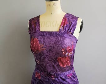 80s Boho purple fitted dress / 80s wiggle dress / purple floral short dress / 50s style fitted dress / 80s body con dress UK 10