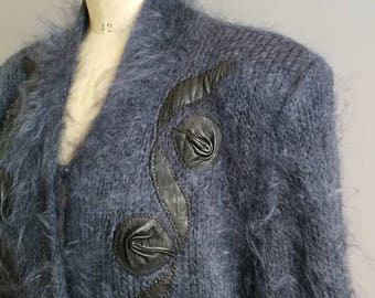 Blue mohair cardigan / 80s fluffy oversized cardigan / navy blue mohair sweater with leather embellishment / lined Mohair cardigan large