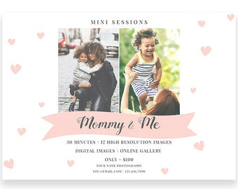 Mini Session, Photoshop Template, Mothers Day, Marketing Board, Spring Sessions, Mother's Day, Mommy and Me, Marketing, PSD c147