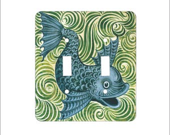 Metal Fish Double Light Switch Cover - Fish Switch Plate - 2T Double Switch Plate - William Morgan Fish Green and Blue