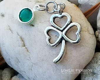 Shamrock with Swarovski crystal birthstone channel drop charm
