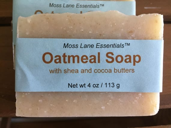 Unscented Oatmeal Cold Process Soap with Shea and Cocoa Butters