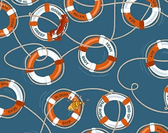 Ink & Arrow In Deep Ship Alicia Jacobs Dujets Navy Blue Life Preserver Ring Fabric 26456-W BTY