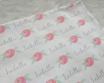 Personalized baby name floral swaddle blanket: baby and toddler personalized name newborn hospital gift baby shower gift