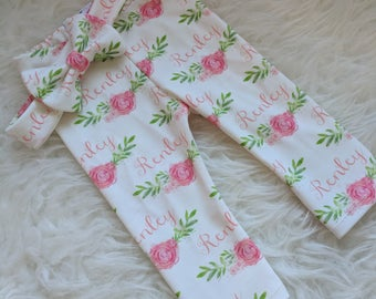 Personalized rose baby name leggings and name bow headband: newborn gift set baby and toddler customized name leggings baby gift